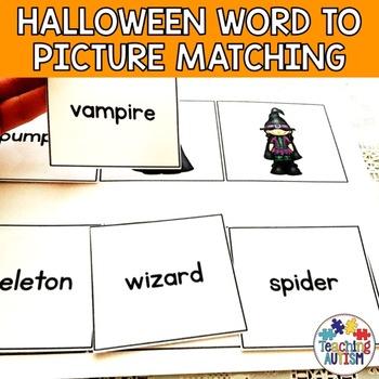 Halloween Activities - Word Picture Matching