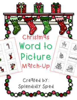 Word to Picture Match up--Christmas themed