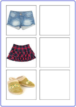 Word to Picture Matching Activity- Girls Clothing