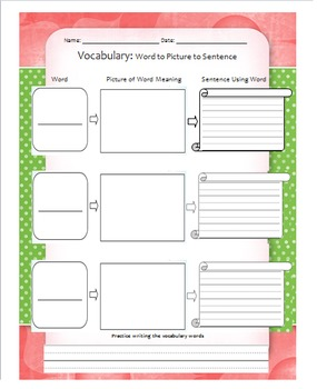 Word to Picture to Sentence Vocabulary Graphic Organizer