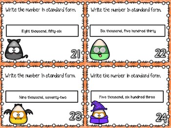 Word to Standard Form Place Value Task Cards