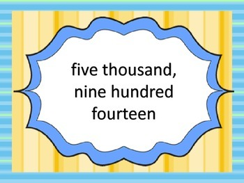 Word to Standard Form---centers/slide show/worksheets--4 digit numbers