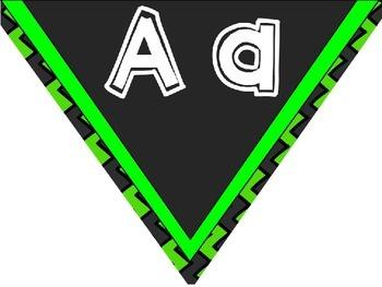Word wall Headers ~ Bright Green and Black Chevron