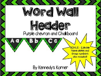 Word wall Headers ~ Bright Green and Black Chevron