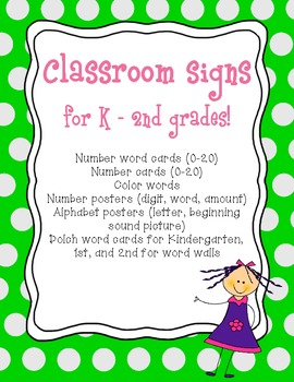 Word wall, alphabet, number posters, color word posters, a