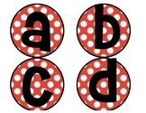 Word wall letters: red polka dots