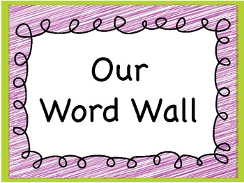 Word wall sign and letters
