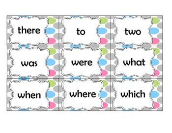 Polka-dot word wall sight word cards