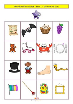 Sorts 1-6 bundle Word within words based sorts for spelling, not reading