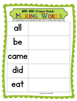 Word Work: Making Words Primer Dolch