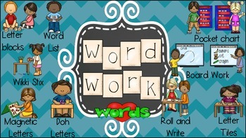 Word work posters/labels/schedule cards