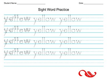 "Word ""yellow"" sight word handwriting practice"