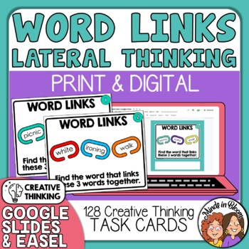 """WordLinks"" Task Cards: 128 Lateral Thinking Cards (Similar to TriBonds)"
