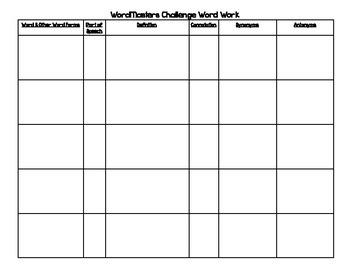 WordMasters 6th Grade Blue Division - WordWork Packet - List ONE