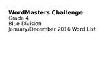 WordMasters PowerPoint Grade 4 2016 List 2, Blue Division