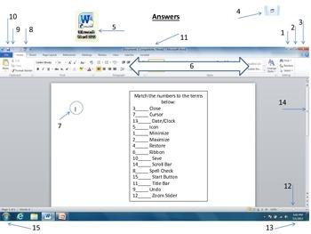 Word 2010 Terminology Worksheet