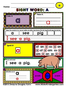 WordPlay: A (Sight Word activities)