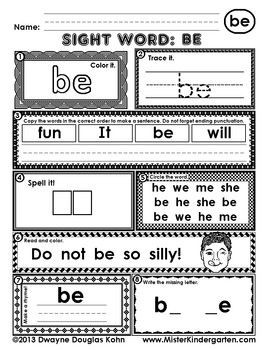 WordPlay: BE (Sight Word activities)