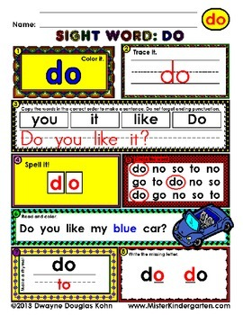 WordPlay: DO (Sight Word activities)