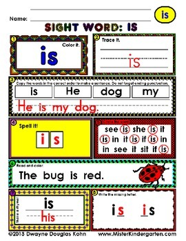 WordPlay: IS (Sight Word activities)