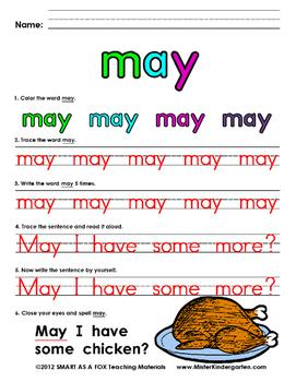 WordPlay: MAY (Sight Word activities)