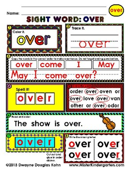 WordPlay: OVER (Sight Word activities)