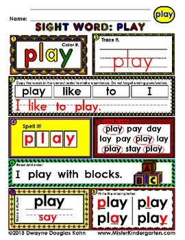 WordPlay: PLAY (Sight Word activities)