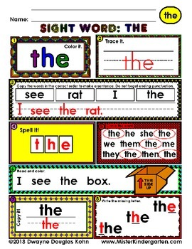 WordPlay: THE (Sight Word activities)