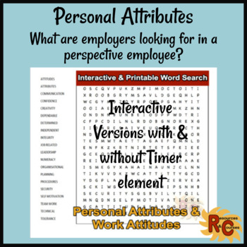 WordSearch - Personal Attributes & Work Attitudes