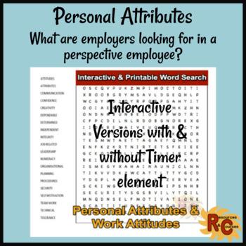 Interactive WordSearch - Personal Attributes & Work Attitudes