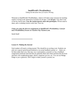 WordSmithery: Creative Writing Lessons 1 and 2