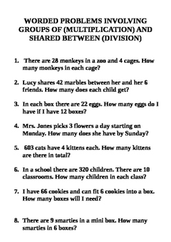 Worded (inc Multi-Step) Division and Multiplication Problems Grades 3 4 & 5