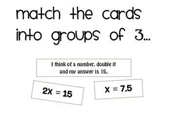 Solving Equations Matching Activity