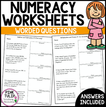 Worded Maths Problems - 4 Processes, Perimeter and Area, Time  Worksheets