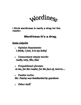 Wordiness Lesson and Worksheet