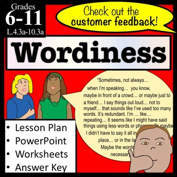Wordiness PowerPoint, Lesson Plan, Worksheets and MORE