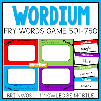 Wordium - A Fry Words Game - Level 3  - Words 501-750