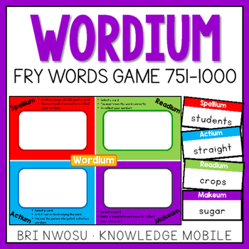 Wordium - A Fry Words Game - Level 4  - Words 751-1000