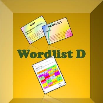 Wordlist D (with sentences)