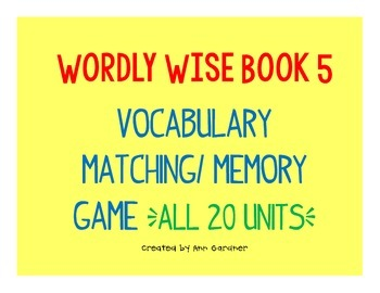Wordly Wise 3000 - Book 5 - Memory/Matching Game Bundle - ALL 20 Lessons