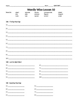 Wordly wise book 8 lesson 10 answer key