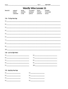 Wordly Wise 3000, Book 8 - Lesson 11 Answer Sheet