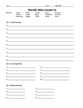 Wordly Wise 3000, Book 8 - Lesson 12 Answer Sheet