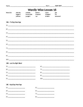 Wordly Wise 3000, Book 8 - Lesson 16 Answer Sheet