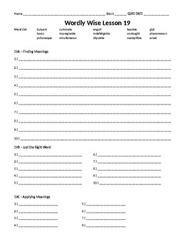 Wordly Wise 3000, Book 8 - Lesson 19 Answer Sheet