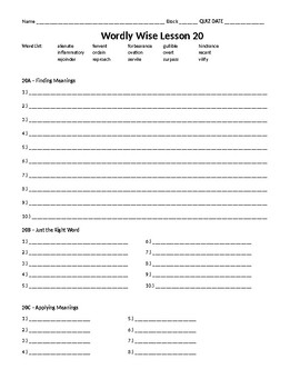 Wordly Wise 3000, Book 8 - Lesson 20 Answer Sheet