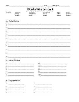 Wordly wise book 8 lesson 5 answer key