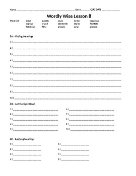 Wordly wise 3000 book 8 lesson 8 answer sheet by elizabeth mitchell wordly wise 3000 book 8 lesson 8 answer sheet fandeluxe Gallery