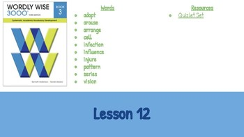 Wordly Wise Book 3 Lesson 12 Slideshow