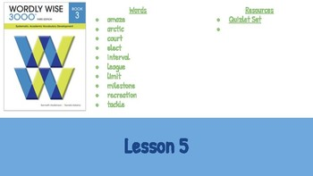 Wordly Wise Book 3 Lesson 5 Slideshow